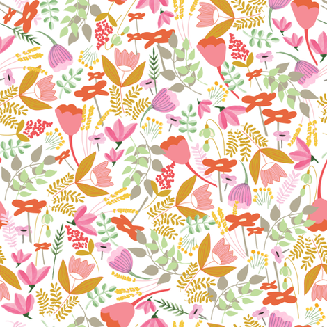 Wild meadow floral in white - medium fabric by thislittlestreet on Spoonflower - custom fabric