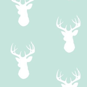 Deer-White on mint - stag Buck deer head silhouette