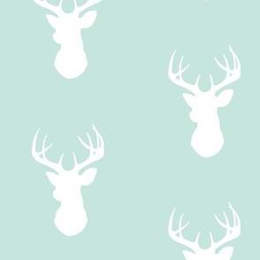 Deer-White on mint - stag Buck deer head silhouette