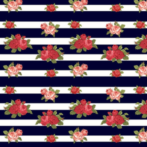 Roses on Navy and Cream Stripes