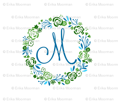 Lagoon  XL 12 initial personalized  shabby chic rose wreath