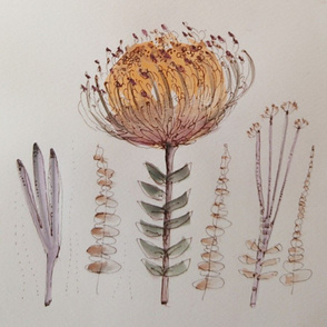 Pincushion and sprigs