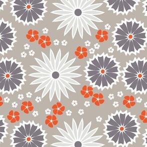 Orange and Gray Big Floral Pattern