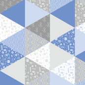 Pastel Wizard Cheater Quilt - Blue & Gray