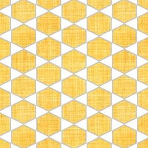 Faux Linen yellow hexagon on white
