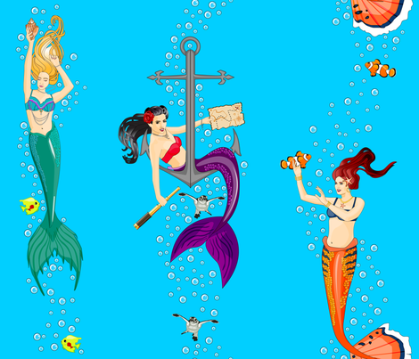 Mermaid Party fabric by tracy_dixon on Spoonflower - custom fabric
