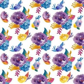 watercolor floral bouquets purple blue