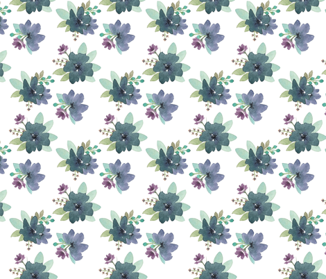 Blue and Purple Blooms fabric by bluebirdcoop on Spoonflower - custom fabric