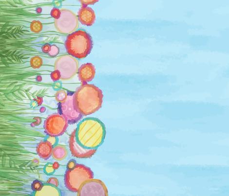 Border - Abstract Watercolor Flowers fabric by nicoledobbins on Spoonflower - custom fabric