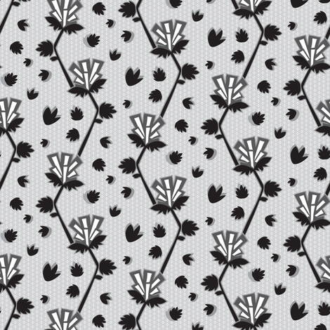 Art Deco Geometric Floral || Monochrome Black White Abstract Silver Flower  Gray Grey _Miss Chiff Designs  fabric by misschiffdesigns on Spoonflower - custom fabric