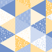 Pastel Potter Cheater Quilt - Blue & Yellow