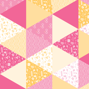Pastel Potter Cheater Quilt - Pink & Yellow