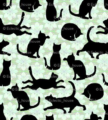 Black Cats on Mint Green Flowers