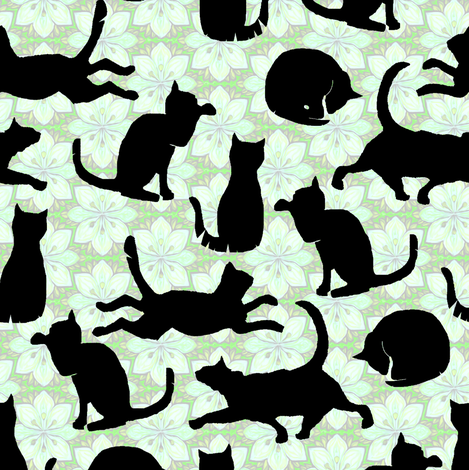 Black Cats on Mint Green Flowers fabric by eclectic_house on Spoonflower - custom fabric