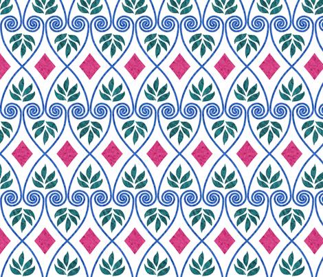 Minoan-favorite-textile-design-EWBarber-2-batiktextures-trueblue-cherryred-forestgreen-WHITE fabric by mina on Spoonflower - custom fabric