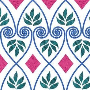 Minoan-favorite-textile-design-EWBarber-2-batiktextures-trueblue-cherryred-forestgreen-WHITE