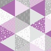 Pastel Potter Cheater Quilt - Purple & Gray