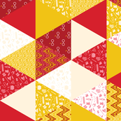 Pastel Potter Cheater Quilt - Red & Gold