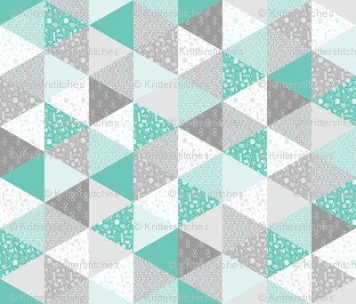 Pastel Potter Cheater Quilt - Teal & Gray