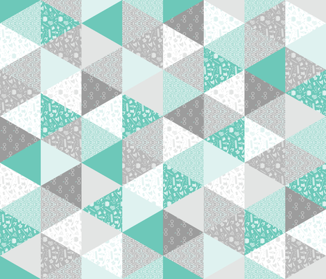 Pastel Potter Cheater Quilt - Teal & Gray fabric by kritterstitches on Spoonflower - custom fabric