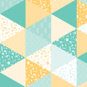 Pastel Wizard Cheater Quilt - Teal & Yellow