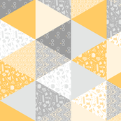 Pastel Potter Cheater Quilt - Yellow & Gray