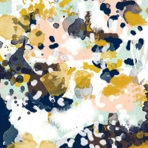 sloane abstract navy blue mint peach girls fabric abstract nursery painterly girls design
