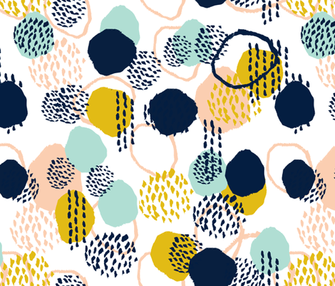 abstract painted dots navy blue peach gold mint fabric fabric by charlottewinter on Spoonflower - custom fabric
