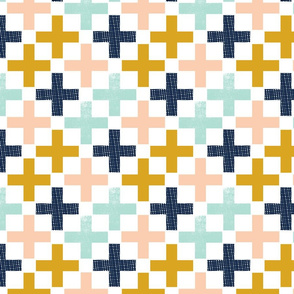 plus swiss cross navy blue mint peach gold fabric swiss cross fabric nursery fabric trendy nursery design