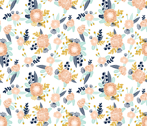florals peach navy blue mint gold flowers painted floral painted flowers fabric nursery floral fabric fabric by charlottewinter on Spoonflower - custom fabric