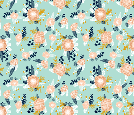 Mint florals fabric nursery fabric les fleurs fabric for Floral nursery fabric