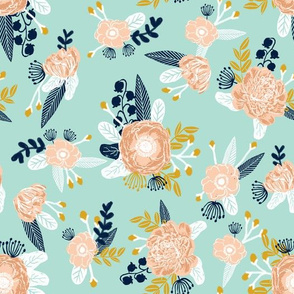 mint florals fabric nursery fabric les fleurs fabric flowers fabric flower fabric mint peach gold navy blue fabrics