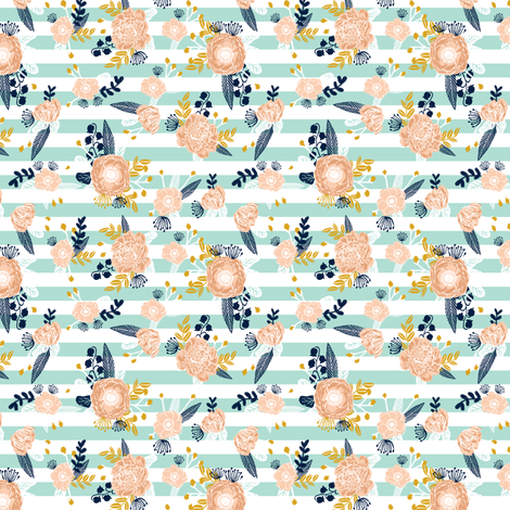 stripes flowers florals flower fabric nursery fabric nursery florals design girls peach flowers les fleurs fabric fabric by charlottewinter on Spoonflower - custom fabric