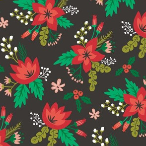 Vintage Christmas Holiday Flowers Floral on Black