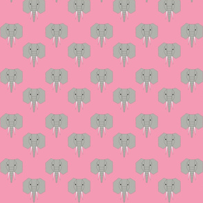 Geometric Elephant on Pink