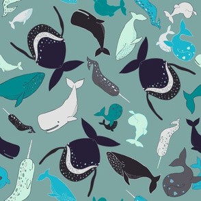 Tossed Whales Seafoam
