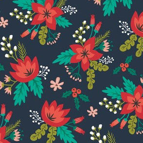 Vintage Christmas Holiday Flowers Floral on Navy Blue