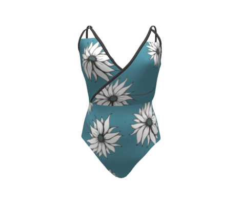 Scattered Star Flowers on Teal Blue