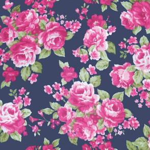 Navy Pink Watercolor Floral