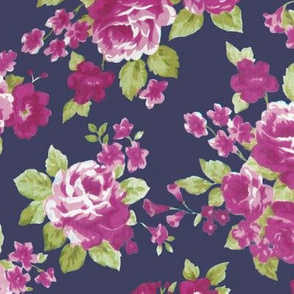 Navy Plum Watercolor Floral