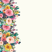 Autumn Painted Blooms Floral Border