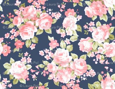 Navy Blush Watercolor Floral