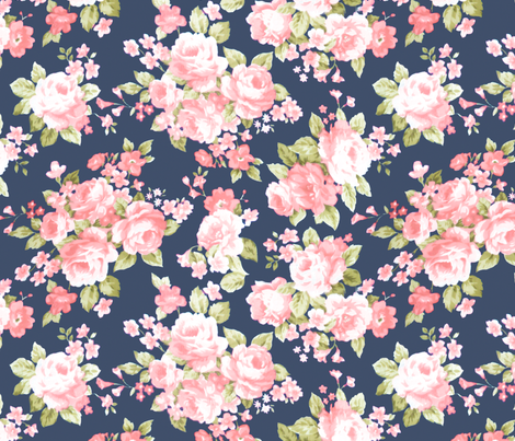 Navy Blush Watercolor Floral Fabric Laurapol Spoonflower