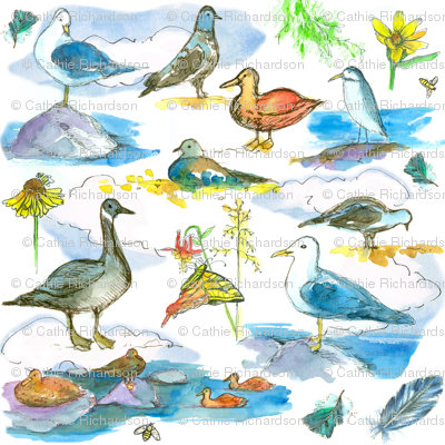 free printable calanders lake shore birds fabric countrygarden spoonflower 21866
