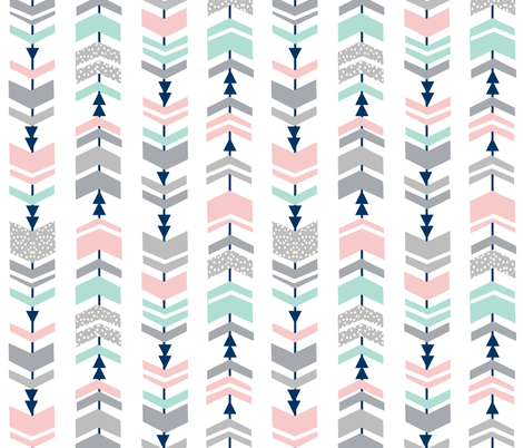 chevrons, chevron, pink and mint fabric cute girls fabric nursery baby fabric fabric by charlottewinter on Spoonflower - custom fabric