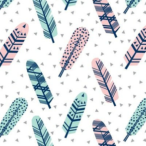 feathers, feather fabric boho girls mint and pink fabric feather fabric