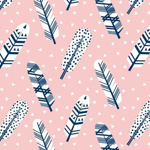feathers feather pink and navy navy fabric girls nursery baby fabric
