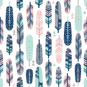 feathers feather fabric mint pink and navy feather fabric boho fabric nursery baby cute fabric