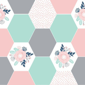 hexagon quilt top cute hexies mint and pink grey floral hexie hexie cheater fabric girls baby fabric