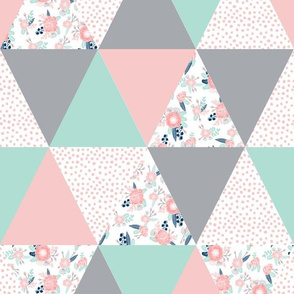 cheater quilt triangle quilts navy mint and pink floral baby blanket cute nursery baby fabric